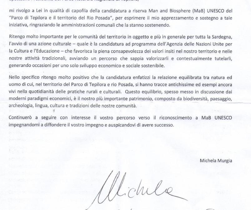 La scrittrice Murgia a sostegno della candidatura MAB Unesco del Parco Tepilora